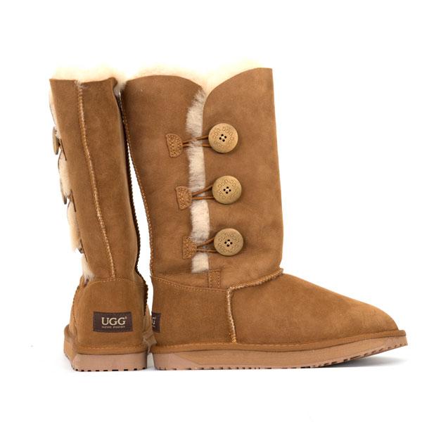 b73388daa41 Details about 3 Button Premium Sheepskin UGG Boots - Chestnut *Clearance*